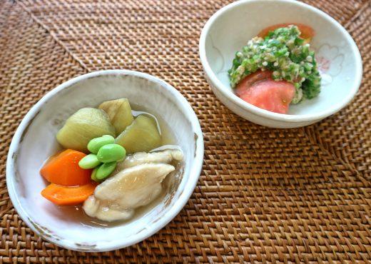 夏野菜の小鉢2品 翡翠なすとささみの薄くず煮とトマトのオクラドレッシング